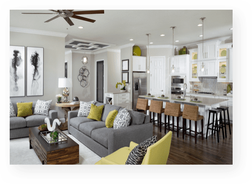westbay story | model home kitchen and great room