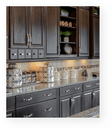 westbay story | model home kitchen counter and cabinets