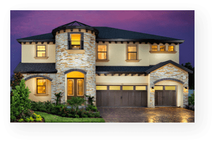 westbay story | model home front exterior at dusk